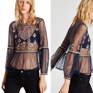 Navy Embroidered Peplum Blouse